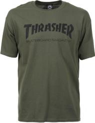 Thrasher T Shirt - Skate Mag - Army Green