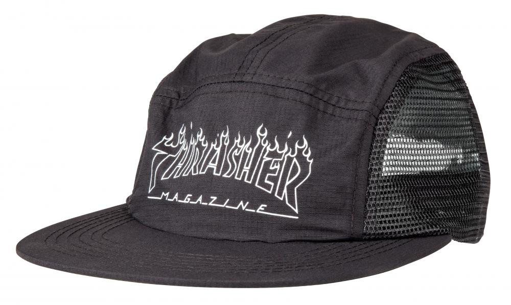 Thrasher Cap Flame - Flame Outline 5 Panel - Black - The Boardroom 43663ebfece
