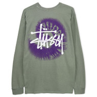 Stussy Basic Swirl Pigment Dyed Long Sleeve Tee - Grey