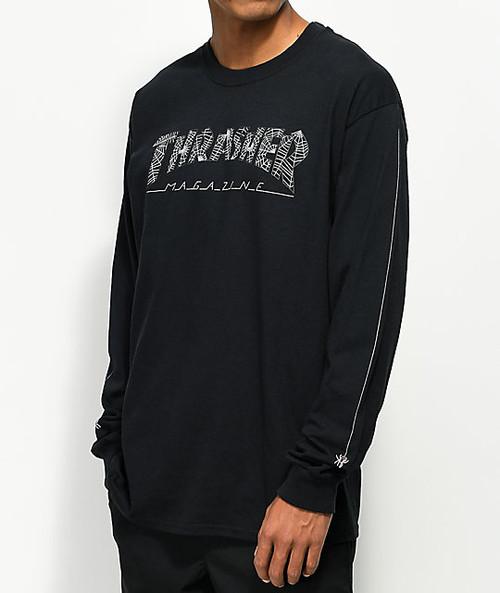 7d27067ec Thrasher Long Sleeve - Web Long Sleeve Black T-Shirt - Black - The ...