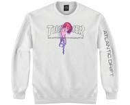 Thrasher Skateboard Magazine X Atlantic Drift Crew Sweatshirt - White