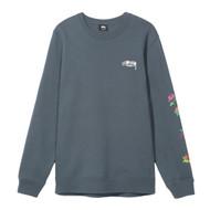 Stussy Roses Crew Sweatshirt - Cool Blue