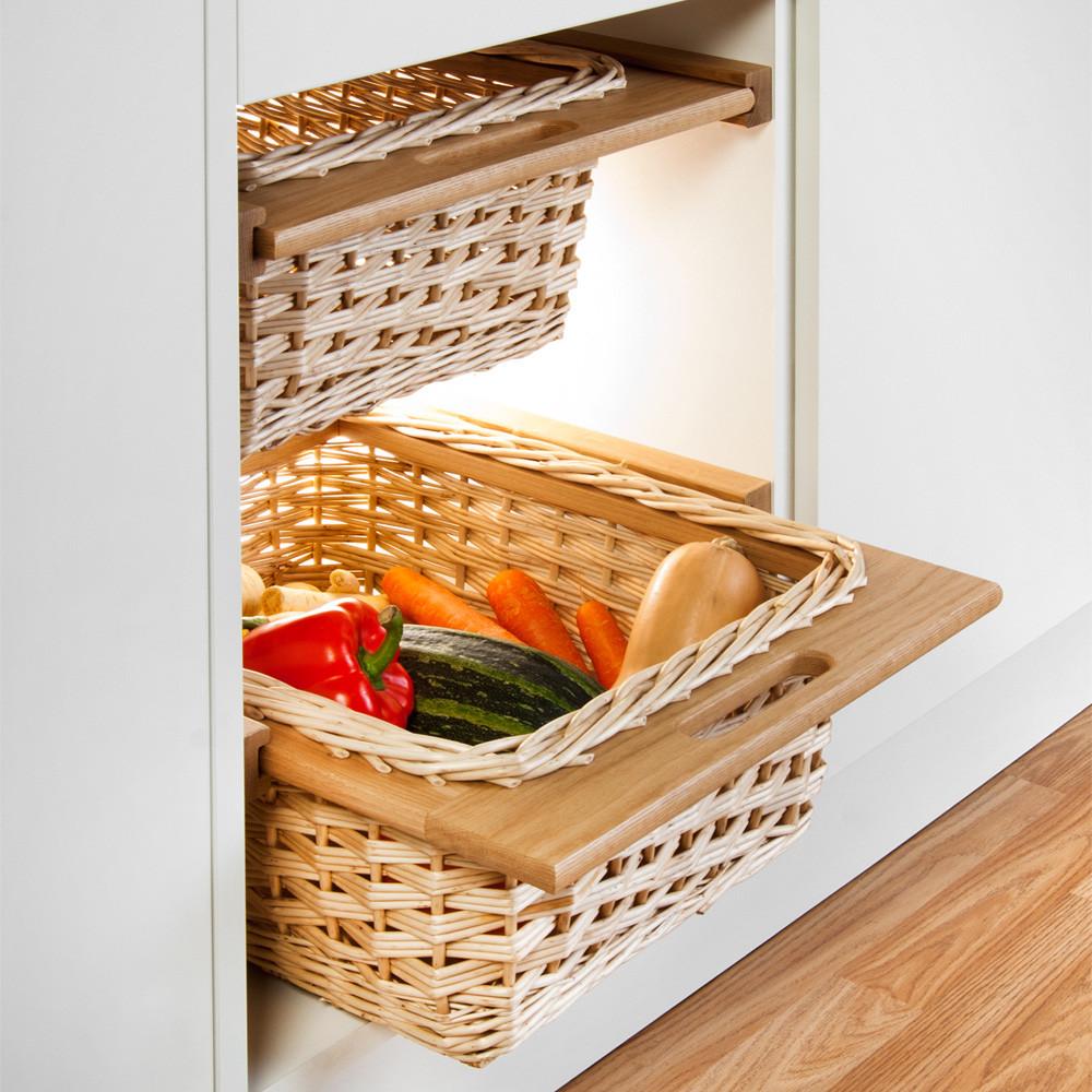 Oak Framed Wicker Baskets (Pair) - Clutterfree kitchens