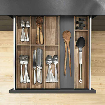 Ambia Line Cutlery Tray Walnut Clutterfree Kitchens