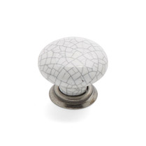 Winchester - Pewter White Crackle Knob & Back Plate
