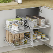 Slide the back shelves to the front allowing independent access to all contents.