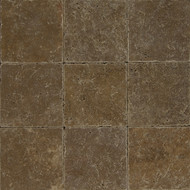 "Bedrosians Pavers Travertine Tile Cobblestone Brown 16"" x 16"""