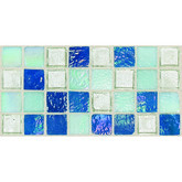 "Daltile Egyptian Glass Blue Pearl Mix Blend Mosaic 1"" x 1"""
