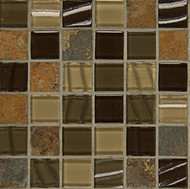 "Bedrosians Elume Glass & Slate Blended Java Bean 1 1/8"" Mosaic"