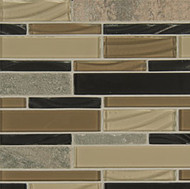 Bedrosians Elume Glass & Slate Blended Boardwalk Linear Mosaic