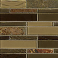 Bedrosians Elume Glass & Slate Blended Java Bean Linear Mosaic