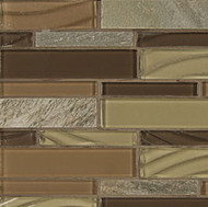 Bedrosians Elume Glass & Slate Blended Maple Rum Linear Mosaic