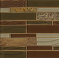 Bedrosians Elume Glass & Slate Blended Ruby Silk Linear Mosaic