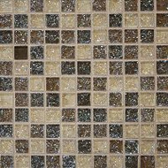 "Bedrosians Tilecrest Ice Crackle Brown Mosaic 1"" x 1"""