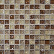 "Bedrosians Tilecrest Ice Crackle Tan Mosaic 1"" x 1"""