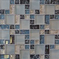 Bedrosians Tilecrest Ice Crackle Gray Mosaic Pattern