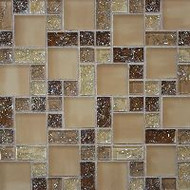 Bedrosians Tilecrest Ice Crackle Tan Mosaic Pattern