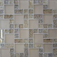 Bedrosians Tilecrest Ice Crackle Cream Mosaic Pattern