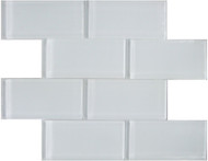 "Arizona Tile Skylights II White Glossy 3"" x 6"" Stag Joint Glass Tile"