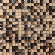 "Marazzi Crystal Stone 12"" x 12"" Glass/Stone Mosaic Coffee"