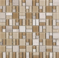 Interceramic Glass Pietra Cristal Geometrics Beige 12x12 Square Mosaic