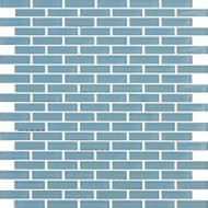 """Eleganza Tile Vetro Solids Glass Crystal Blue 1/2"""" x 2"""" Staggered Brick Mosaic"""