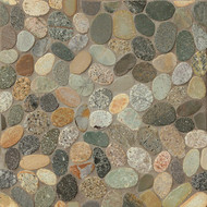 Bedrosians Tilecrest Hemisphere Riverbed Glazed Pebble Sliced Mosaic