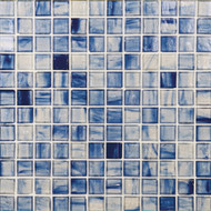 "Bedrosians Tilecrest Pool Tile Emerlad Series Sea 1"" x 1"" Mosaic"