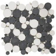 "Bati Orient Pebbles Mix White/Black 12"" x 12"" Reconstituted Penny Round PIMI07"