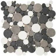 "Bati Orient Pebbles Mix White/Black/Grey 12"" x 12"" Reconstituted Penny Round PIMI09"