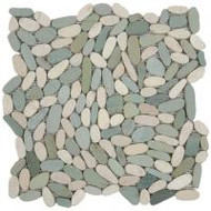 "Bati Orient Pebbles Mix White/Green 12"" x 12"" Sliced Matte GAMI38"