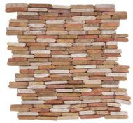 "Bati Orient Opus Mosaic White/Red 11.6"" x 11.6"" Stacked Brick MAMI21"