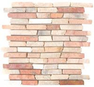 "Bati Orient Opus Mosaic White/Red 11.6"" x 12"" Stacked Brick MAMI13"