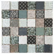 "Bati Orient Decorative Mosaics Grey/Black 2"" x 2"" Glass/Quartzite"