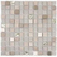 "Bati Orient Decorative Mosaics Grey 7/8"" x 7/8"" Marble, Glass, and Metal"