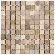 "Bati Orient Decorative Mosaics Beige/Glass 7/8"" x 7/8"" Marble With Decors"