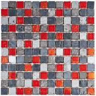 "Bati Orient Decorative Mosaics Grey/Red 7/8"" x 7/8"" Marble With Decors"