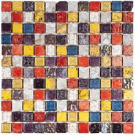 "Bati Orient Decorative Mosaics Mix Color 7/8"" x 7/8"" Marble With Decors"