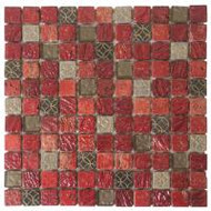 "Bati Orient Decorative Mosaics Red/Grey Glass 1"" x 1"" Marble With Glass Decors"