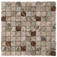 "Bati Orient Decorative Mosaics Brown/Brown Glass 1"" x 1"" Marble With Glass Decors"