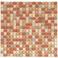 "Bati Orient Decorative Mosaics Beige/Steel/Glass Gold 5/8"" x 5/8"" Glass And Steel"