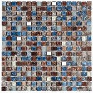 "Bati Orient Decorative Mosaics Mix Blue/Steel/Glass Blue 5/8"" x 5/8"" Glass And Steel"