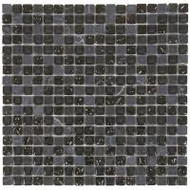 "Bati Orient Decorative Mosaics Black/Black Glass 5/8"" x 5/8"" Marble And Glass"