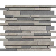 "American Olean Refined Metals Stainless & Gunmetal Blend 10 5/8"" x 11 7/8"" Interlocking Mosaic"