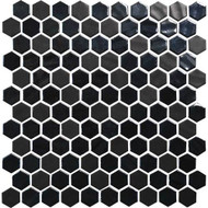 Daltile Uptown Glass Hex Wall Ebony Mosaic