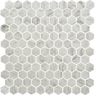 Daltile Uptown Glass Hex Carrara Mosaic