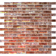 "Daltile Soiree Glass Barbados 5/8"" Random Strip Mosaic"