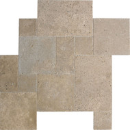 Interceramic Mexican Travertine Chocolate Versailles Pattern Chiseled/Unfilled/Brushed