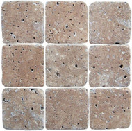 "Interceramic Mexican Travertine Chocolate Tumbled 4"" x 4"""