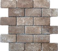 "Interceramic Mexican Travertine Chocolate Tumbled Mosaic 2"" x 4"""